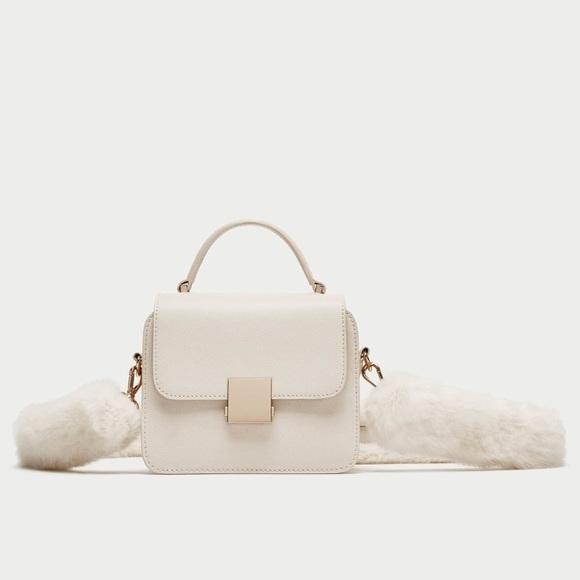 4e93601111 ZARA Mini City Bag With Faux Fur Strap